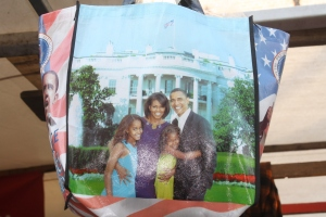 President Obama and family in a bag at Albert Cupymarkt.